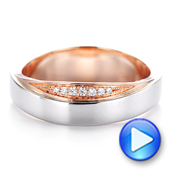 Custom Two-Tone Men's Diamond Wedding Band - Interactive Video - 104291 - Thumbnail