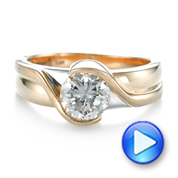 14k Yellow Gold And 14K Gold Custom Two-tone Wrapped Solitaire Diamond Engagement Ring - Video -  104292 - Thumbnail
