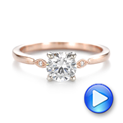 14k Rose Gold Two-tone Engagement Ring - Video -  104328 - Thumbnail