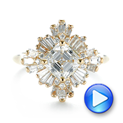 Custom Vintage Style Asscher Diamond Engagement Ring - Interactive Video - 104398 - Thumbnail