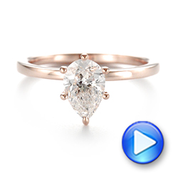 14k Rose Gold Custom Pear Shaped Solitaire Diamond Engagement Ring - Video -  104399 - Thumbnail