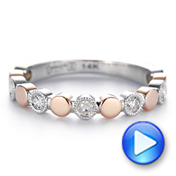 Custom Two-Tone Bezel Diamond Wedding Band - Interactive Video - 104486 - Thumbnail