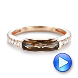 14k Rose Gold Smokey Quartz And Diamond Stackable Ring - Video -  104574 - Thumbnail