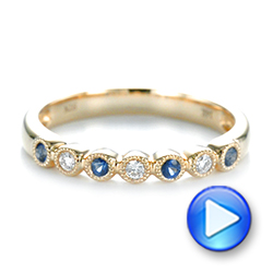 14k Yellow Gold Blue Sapphire And Diamond Stackable Ring - Video -  104575 - Thumbnail