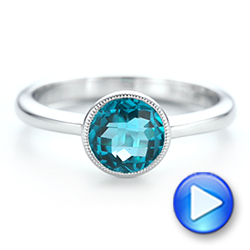 14k White Gold Bezel-set Blue Topaz Ring - Video -  104577 - Thumbnail
