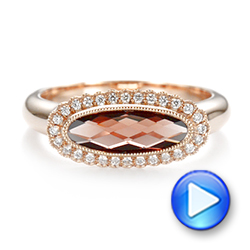 14k Rose Gold Garnet And Diamond Halo Fashion Ring - Video -  104579 - Thumbnail