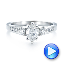 Custom Three Stone Marquise Diamond Engagement Ring - Interactive Video - 104581 - Thumbnail