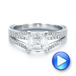 Custom Split Shank Asscher Diamond Engagement Ring - Interactive Video - 104582 - Thumbnail
