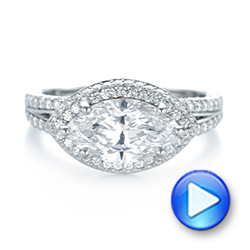 Platinum Marquise Diamond Pave Halo Engagement Ring - Video -  104585 - Thumbnail