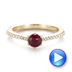 14k Yellow Gold Ruby And Diamond Ring - Video -  104586 - Thumbnail