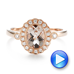 Morganite and Diamond Halo Ring - Interactive Video - 104587 - Thumbnail