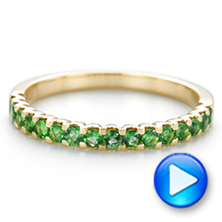 14k Yellow Gold Green Emerald Wedding Band - Video -  104591 - Thumbnail
