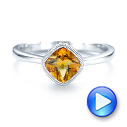 14k White Gold Citrine Vintage-inspired Solitaire Ring - Video -  104594 - Thumbnail