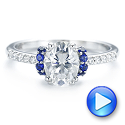 14k White Gold Custom Blue Sapphire And Moissanite Engagement Ring - Video -  104653 - Thumbnail