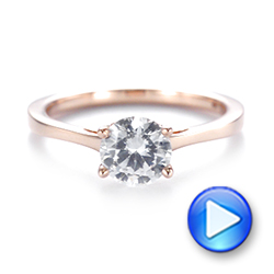 14k Rose Gold Floral Solitaire Diamond Engagement Ring - Video -  104655 - Thumbnail