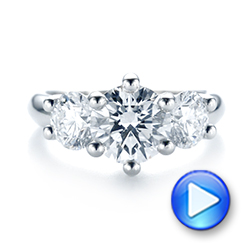Platinum Modern Three Stone Diamond Engagement Ring - Video -  104656 - Thumbnail