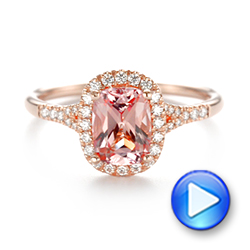 14k Rose Gold Pink Champagne Sapphire And Diamond Halo Engagement Ring - Video -  104657 - Thumbnail