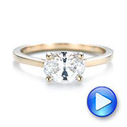 14k Yellow Gold East-west Solitaire Diamond Engagement Ring - Video -  104659 - Thumbnail