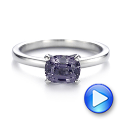 Platinum Custom Solitaire Spinel Gemstone Engagement Ring - Video -  104660 - Thumbnail