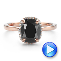 Custom Rose Gold Black Diamond Halo Engagement Ring - Interactive Video - 104685 - Thumbnail