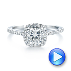 14k White Gold Custom Diamond Halo Engagement Ring - Video -  104686 - Thumbnail