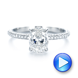 Platinum Custom Pave Diamond Engagement Ring - Video -  104689 - Thumbnail