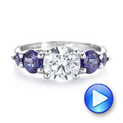Custom Alexandrite and Diamond Five Stone Engagement Ring - Interactive Video - 104691 - Thumbnail
