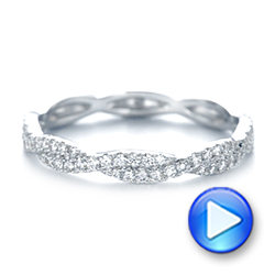 14k White Gold Custom Criss Cross Diamond Wedding Band - Video -  104743 - Thumbnail