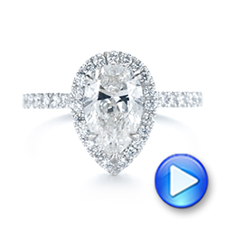 18k White Gold Custom Pear Shaped Diamond Halo Engagement Ring - Video -  104780 - Thumbnail