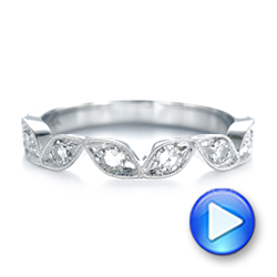 14k White Gold Custom Diamond Marquise Shaped Wedding Ring - Video -  104781 - Thumbnail