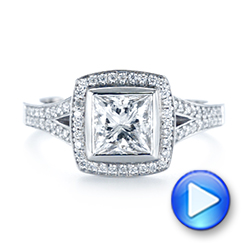 Custom Princess Cut Diamond Halo Engagement Ring - Interactive Video - 104782 - Thumbnail