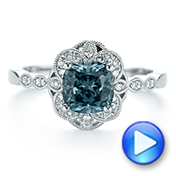 Platinum Custom Blue-green Montana Sapphire And Diamond Engagement Ring - Video -  104785 - Thumbnail