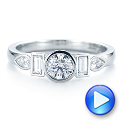 Platinum Custom Geometric Diamond Engagement Ring - Video -  104786 - Thumbnail