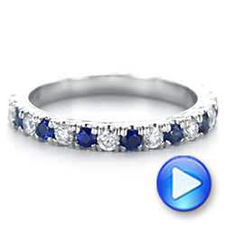 Platinum Custom Hand Engraved Blue Sapphire And Diamond Wedding Band - Video -  104796 - Thumbnail