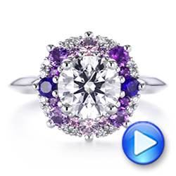 Custom Cluster Amethyst, Sapphire, and Diamond Engagement Ring - Interactive Video - 104823 - Thumbnail
