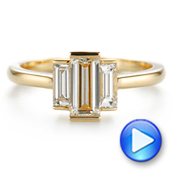 14k Yellow Gold Custom Three Stone Diamond Engagement Ring - Video -  104826 - Thumbnail