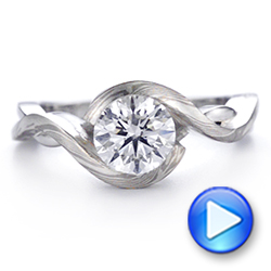 Custom Mokume and Platinum Solitaire Diamond Engagement Ring - Interactive Video - 104827 - Thumbnail