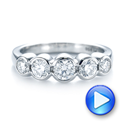 18k White Gold 18k White Gold Custom Five Stone Diamond Anniversary Band - Video -  104828 - Thumbnail