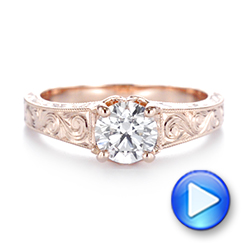 14k Rose Gold Custom Hand Engraved Tri Leaf Solitaire Diamond Engagement Ring - Video -  104829 - Thumbnail