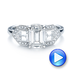 Platinum Custom Three Stone Diamond Engagement Ring - Video -  104830 - Thumbnail