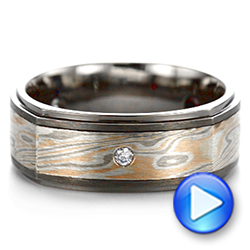 Custom Black Ruby And Diamond Mokume Men's Band - Video -  104850 - Thumbnail