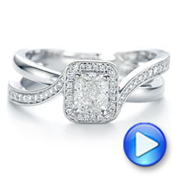 Split Shank Radiant Diamond Halo Engagement Ring - Interactive Video - 104859 - Thumbnail