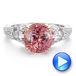 Two-Tone Padparadscha Sapphire and Diamond Engagement Ring - Interactive Video - 104861 - Thumbnail