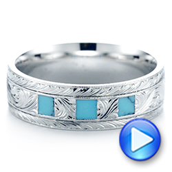 Custom Hand Engraved Turquoise Men's Band - Interactive Video - 104862 - Thumbnail