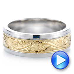 14K Gold And Yellow Gold 14K Gold And Yellow Gold Custom Two-tone Hand Engraved Men's Band - Video -  104864 - Thumbnail