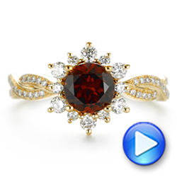 18k Yellow Gold Garnet And Diamond Cluster Halo Engagement Ring - Video -  104866 - Thumbnail