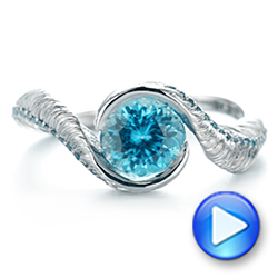 Platinum Feather Engraved Zircon And Blue Diamond Engagement Ring - Video -  104869 - Thumbnail