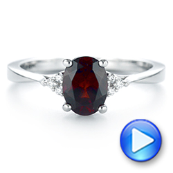 18k White Gold Custom Garnet And Diamond Cluster Engagement Ring - Video -  104870 - Thumbnail