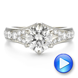 18k White Gold Six Prong Tapered Diamond Engagement Ring - Video -  104873 - Thumbnail