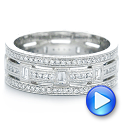 Platinum Custom Diamond Three Strand Women's Wedding Ring - Video -  104881 - Thumbnail